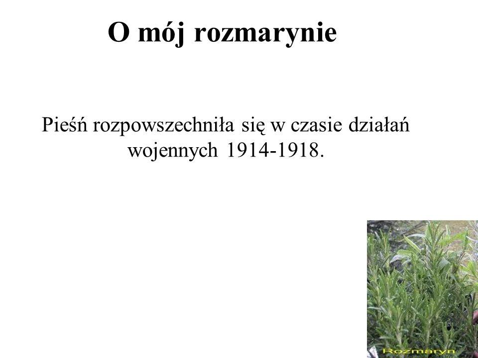 Pieśń rozpowszechniła się w czasie działań wojennych 1914-1918.