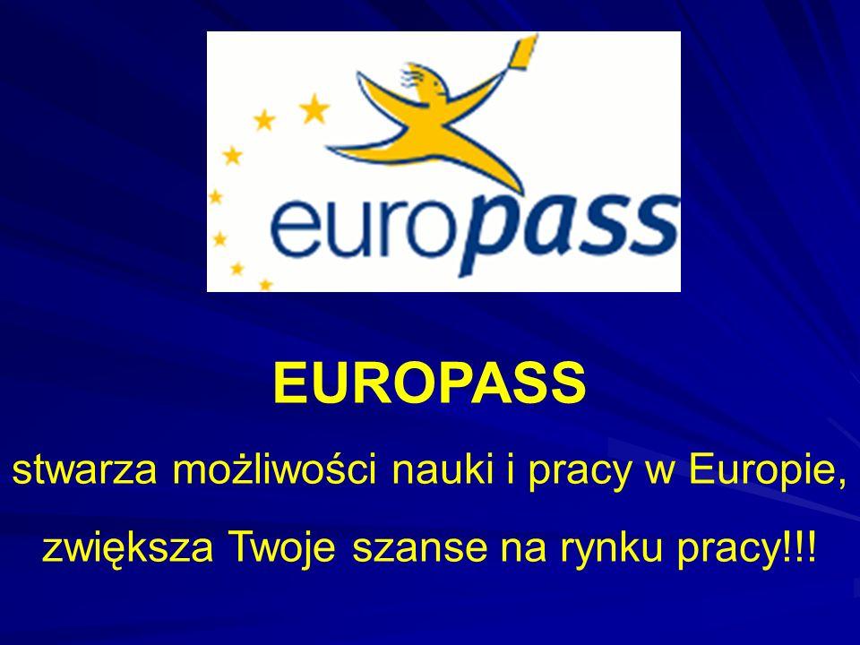 EUROPASS stwarza możliwości nauki i pracy w Europie,