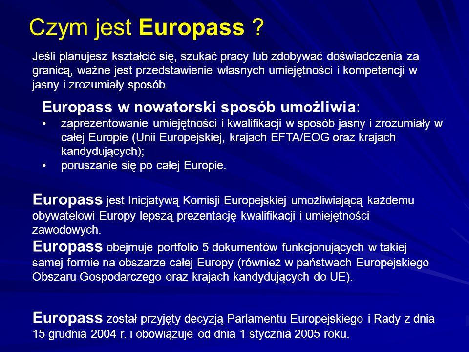 Czym jest Europass Europass w nowatorski sposób umożliwia: