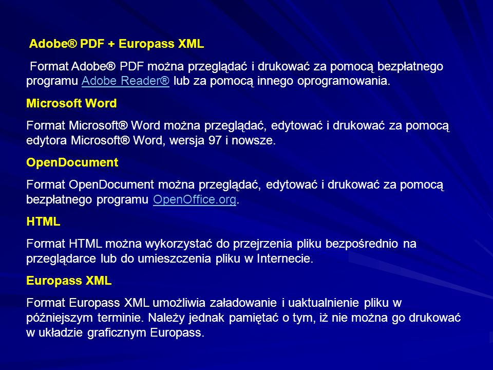 Adobe® PDF + Europass XML