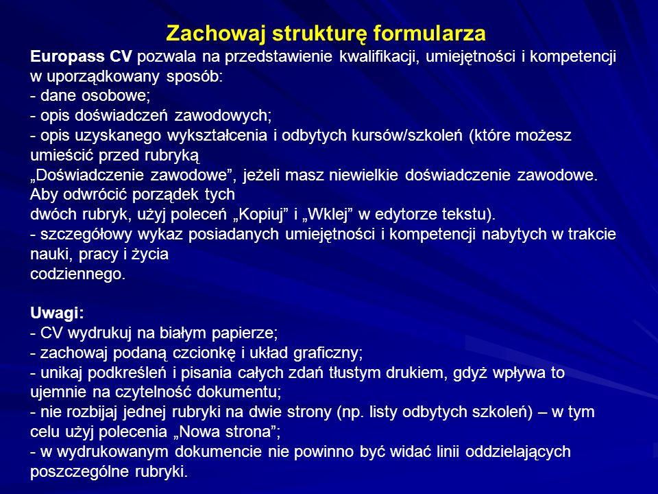 Zachowaj strukturę formularza