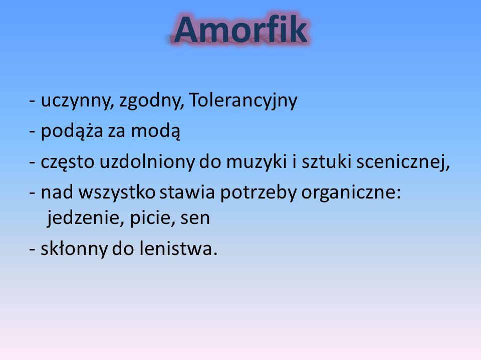 Amorfik - uczynny, zgodny, Tolerancyjny - podąża za modą