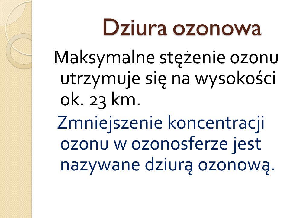 Dziura ozonowa Maksymalne stężenie ozonu utrzymuje się na wysokości ok. 23 km.