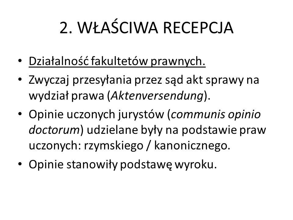 2. WŁAŚCIWA RECEPCJA Działalność fakultetów prawnych.