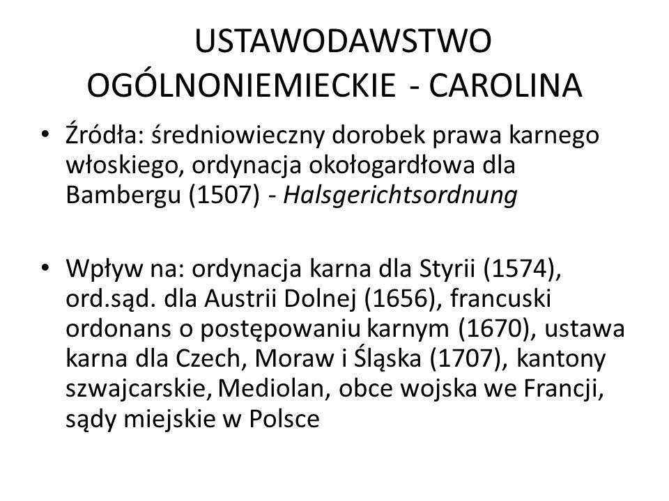 USTAWODAWSTWO OGÓLNONIEMIECKIE - CAROLINA