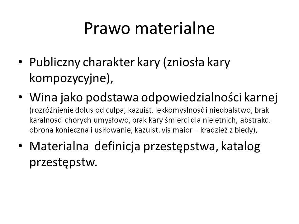 Prawo materialne Publiczny charakter kary (zniosła kary kompozycyjne),