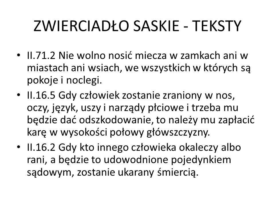 ZWIERCIADŁO SASKIE - TEKSTY