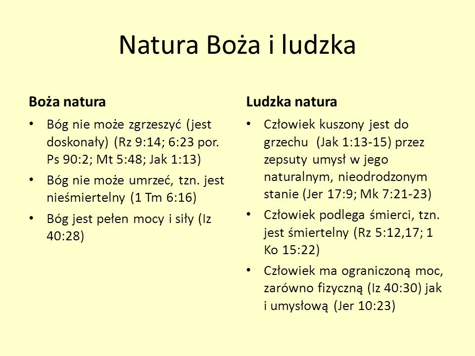 Natura Boża i ludzka Boża natura Ludzka natura