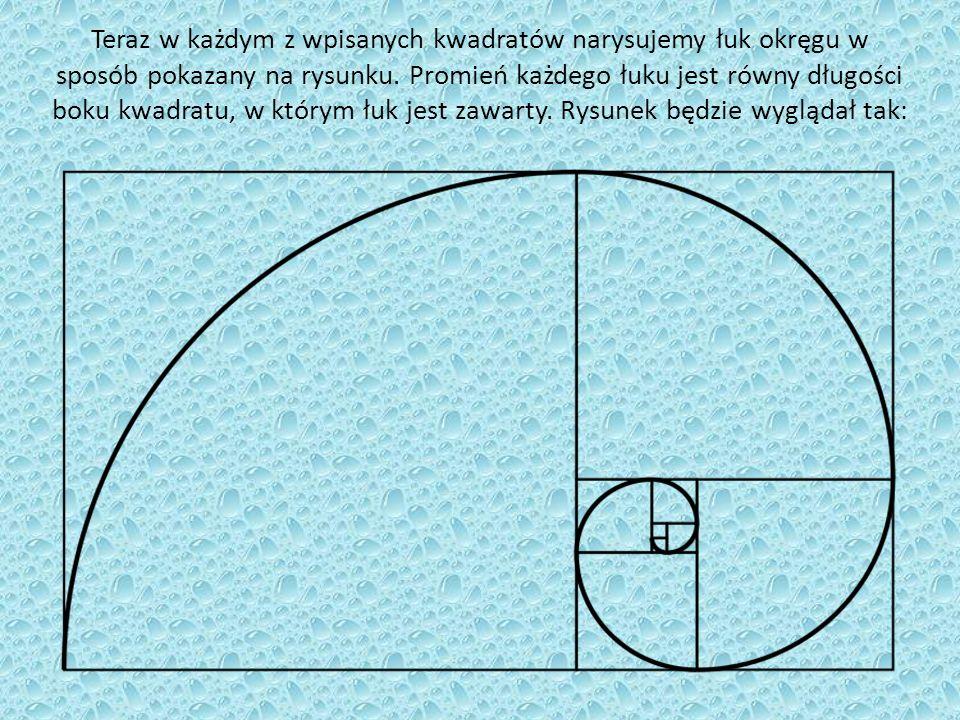 Teraz w każdym z wpisanych kwadratów narysujemy łuk okręgu w sposób pokazany na rysunku.