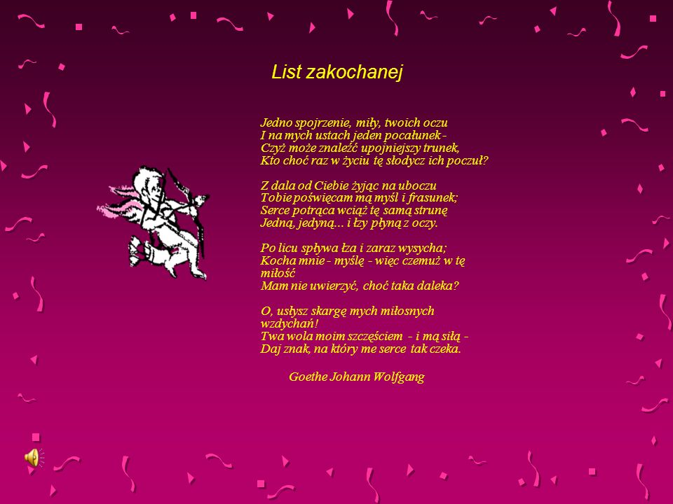 List zakochanej Goethe Johann Wolfgang