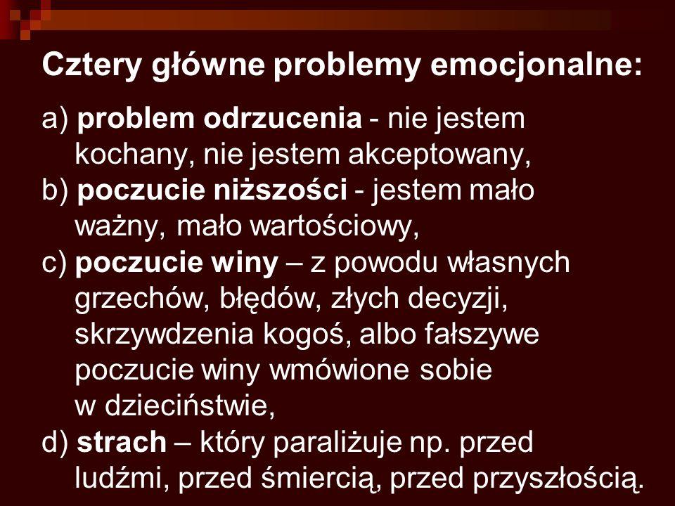 Cztery główne problemy emocjonalne: a) problem odrzucenia - nie jestem kochany, nie jestem akceptowany, b) poczucie niższości - jestem mało ważny, mało wartościowy, c) poczucie winy – z powodu własnych grzechów, błędów, złych decyzji, skrzywdzenia kogoś, albo fałszywe poczucie winy wmówione sobie w dzieciństwie, d) strach – który paraliżuje np.
