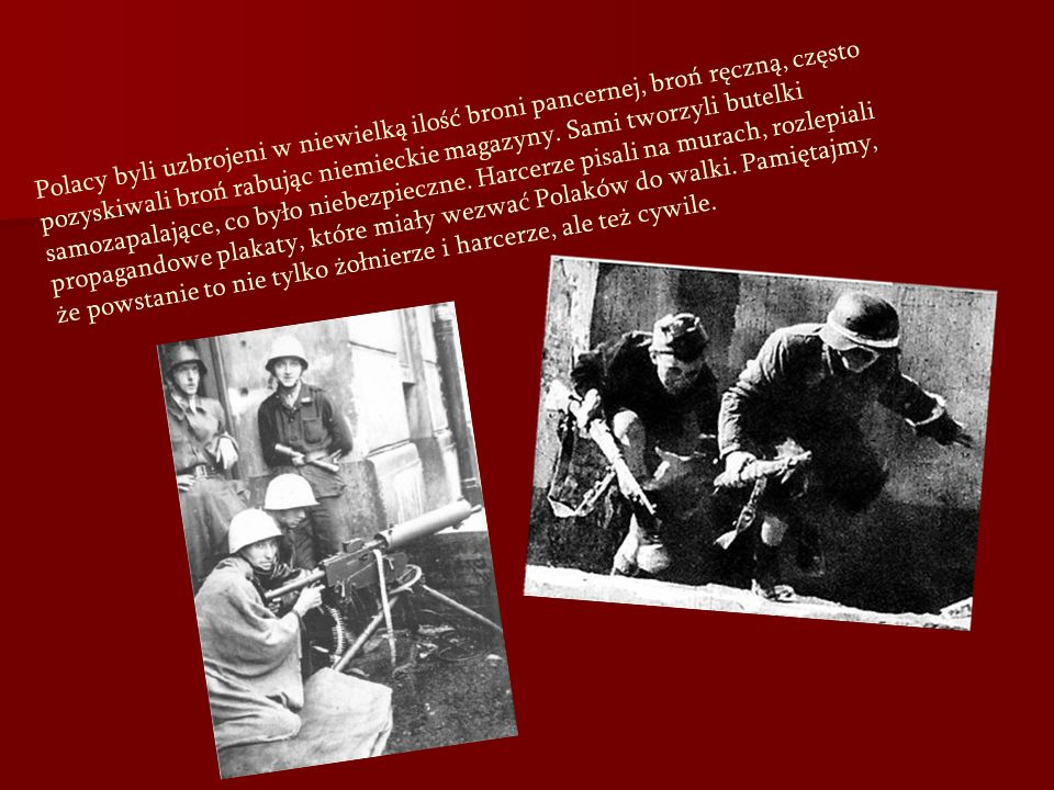 Polacy byli uzbrojeni w niewielką ilość broni pancernej, broń ręczną, często pozyskiwali broń rabując niemieckie magazyny.