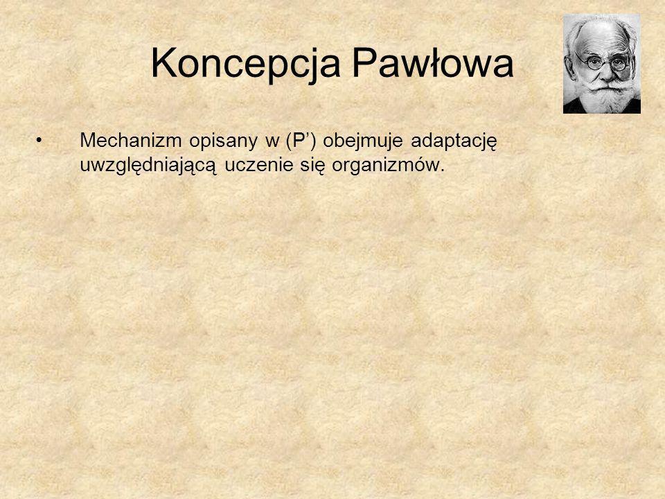 Koncepcja Pawłowa Mechanizm opisany w (P') obejmuje adaptację uwzględniającą uczenie się organizmów.