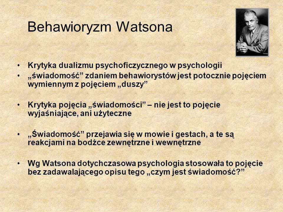 Behawioryzm Watsona Krytyka dualizmu psychoficzycznego w psychologii