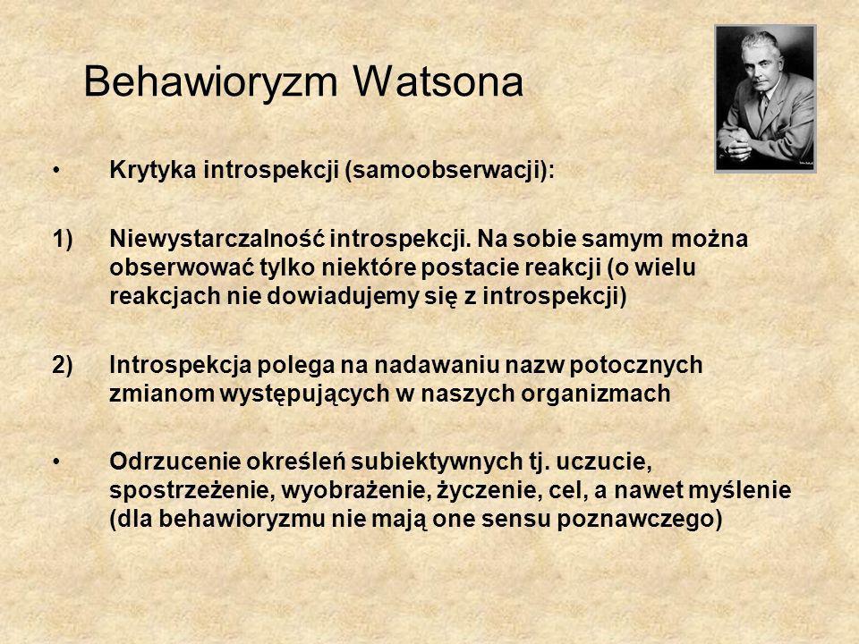 Behawioryzm Watsona Krytyka introspekcji (samoobserwacji):