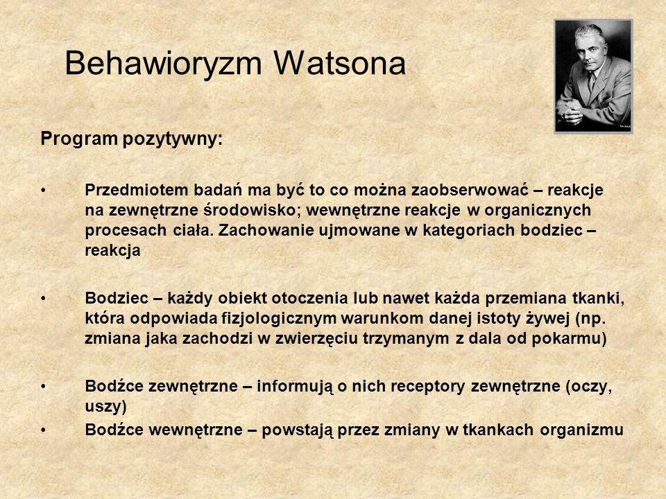 Behawioryzm Watsona Program pozytywny: