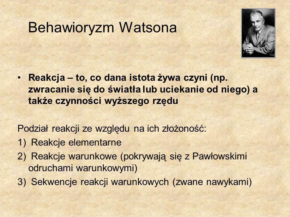 Behawioryzm Watsona Reakcja – to, co dana istota żywa czyni (np. zwracanie się do światła lub uciekanie od niego) a także czynności wyższego rzędu.