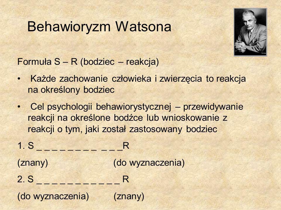 Behawioryzm Watsona Formuła S – R (bodziec – reakcja)