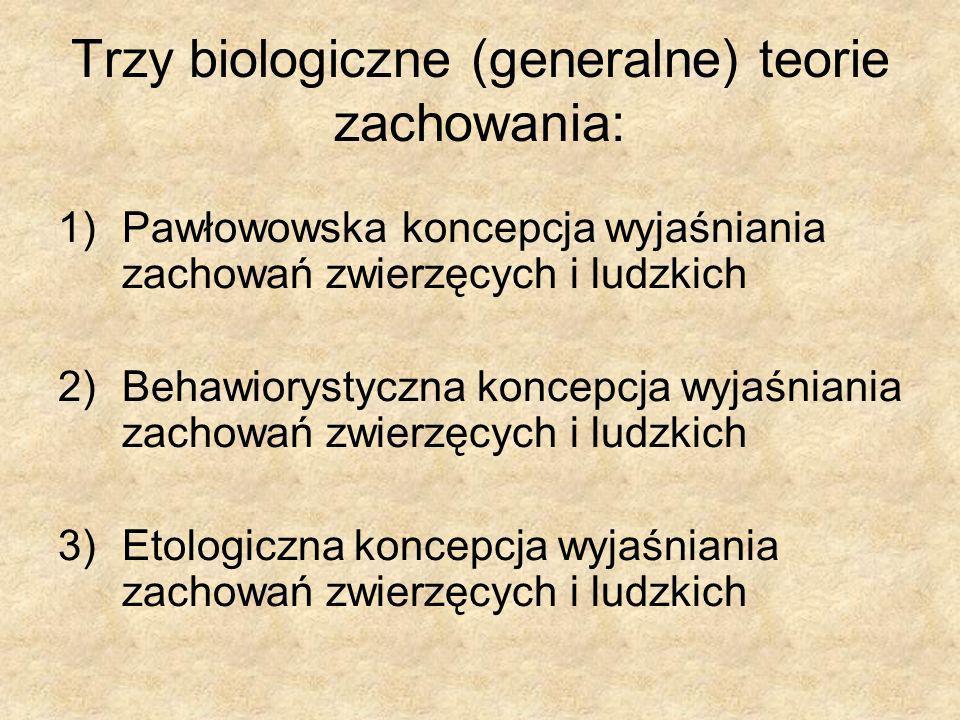 Trzy biologiczne (generalne) teorie zachowania: