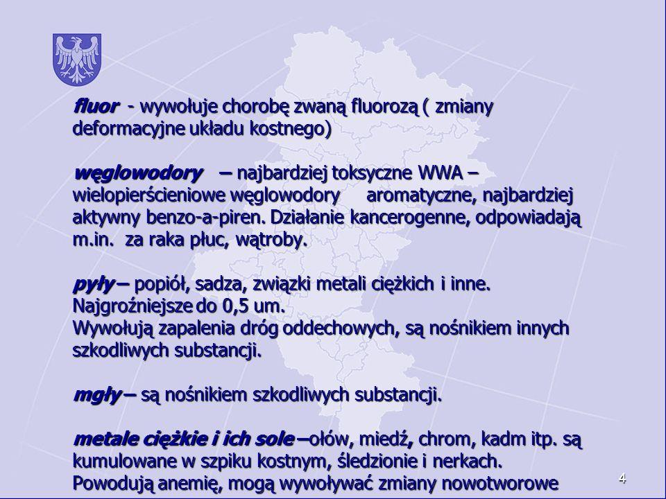 fluor - wywołuje chorobę zwaną fluorozą ( zmiany deformacyjne układu kostnego) węglowodory – najbardziej toksyczne WWA – wielopierścieniowe węglowodory aromatyczne, najbardziej aktywny benzo-a-piren.