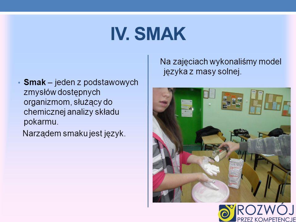 IV. SMAK Na zajęciach wykonaliśmy model języka z masy solnej.