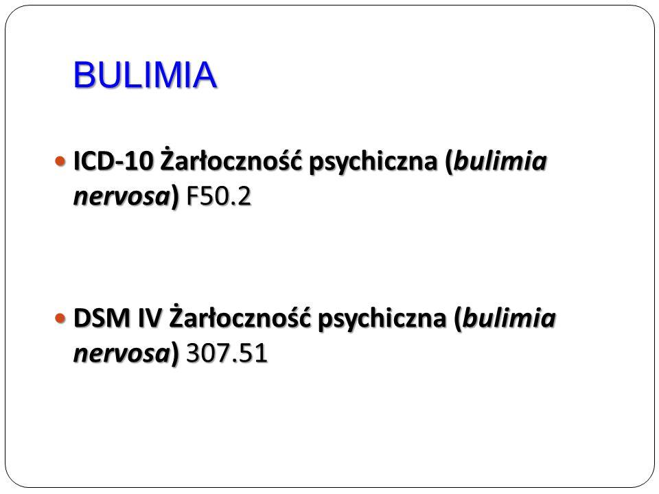 BULIMIA ICD-10 Żarłoczność psychiczna (bulimia nervosa) F50.2