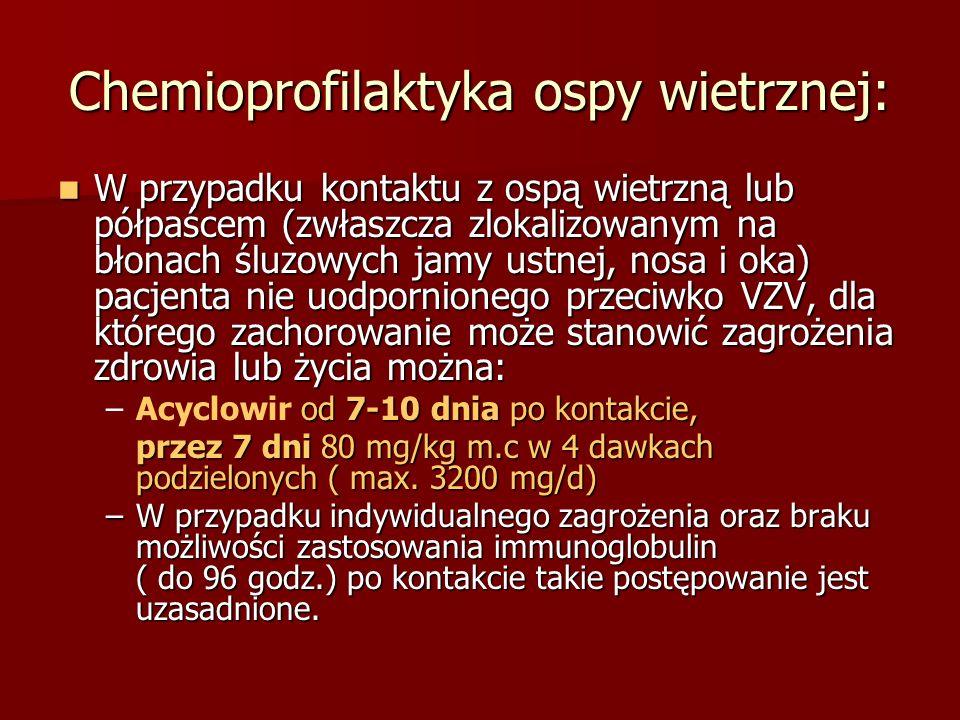 Chemioprofilaktyka ospy wietrznej: