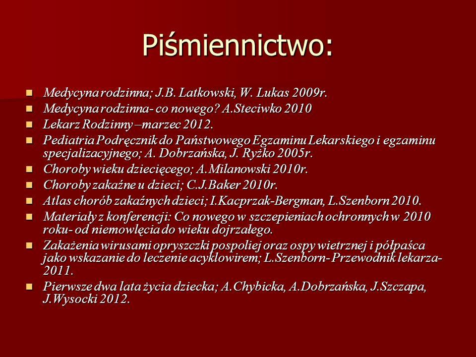 Piśmiennictwo: Medycyna rodzinna; J.B. Latkowski, W. Lukas 2009r.