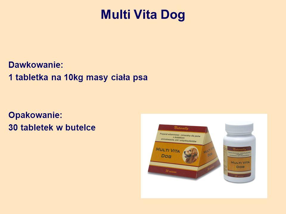 Multi Vita Dog Dawkowanie: 1 tabletka na 10kg masy ciała psa