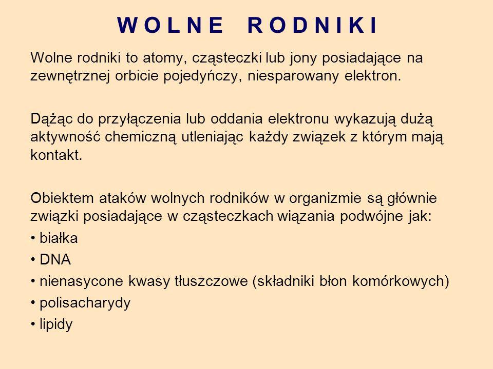 W O L N E R O D N I K I Wolne rodniki to atomy, cząsteczki lub jony posiadające na zewnętrznej orbicie pojedyńczy, niesparowany elektron.