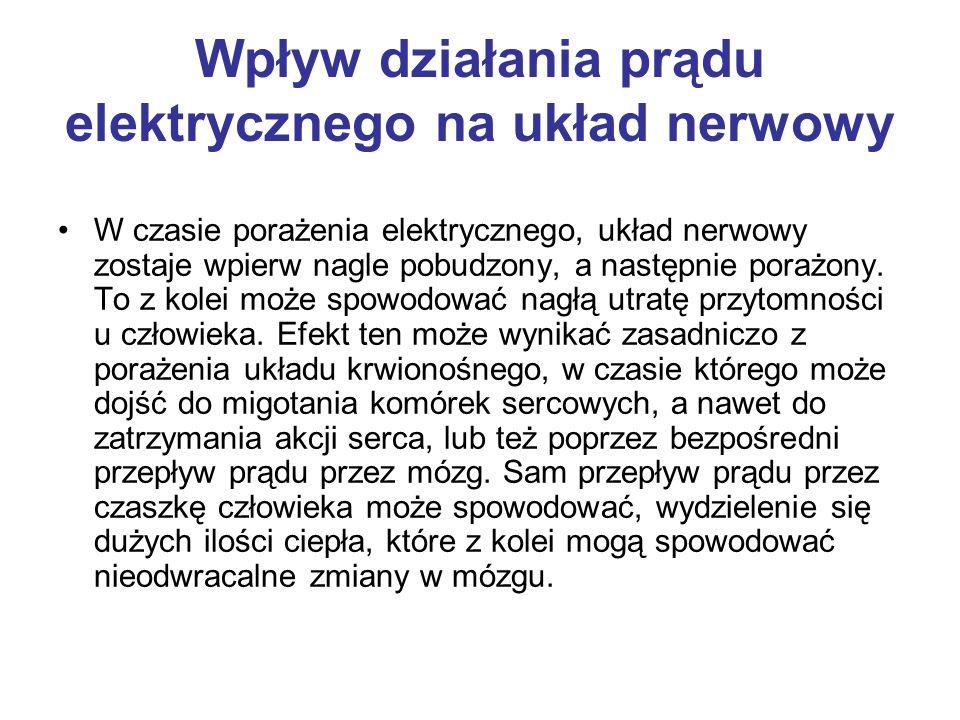 Wpływ działania prądu elektrycznego na układ nerwowy