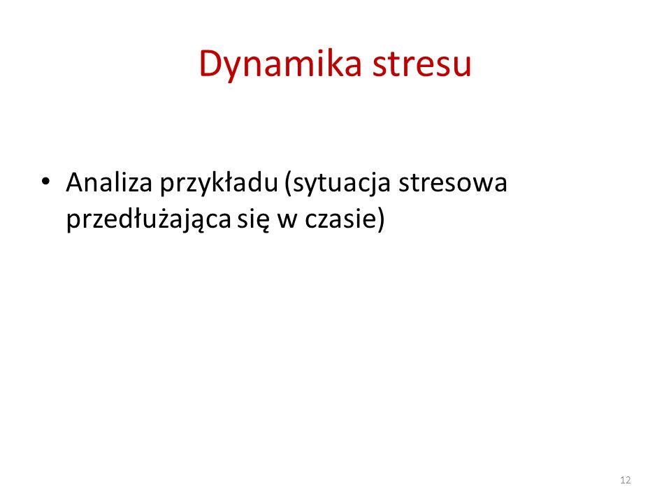 Dynamika stresu Analiza przykładu (sytuacja stresowa przedłużająca się w czasie)