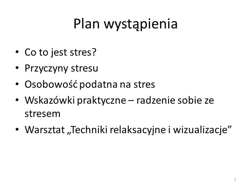 Plan wystąpienia Co to jest stres Przyczyny stresu