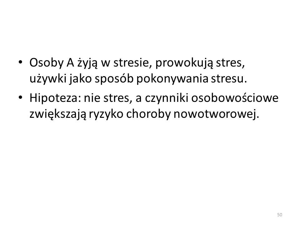 Osoby A żyją w stresie, prowokują stres, używki jako sposób pokonywania stresu.
