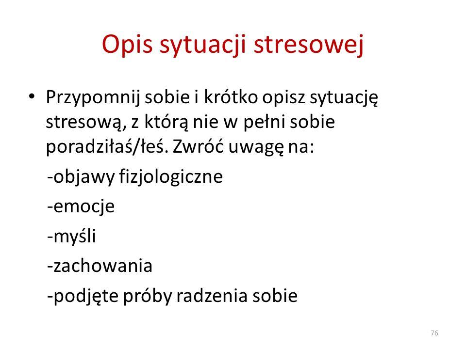 Opis sytuacji stresowej