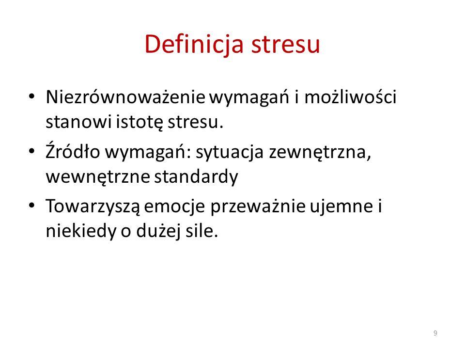 Definicja stresu Niezrównoważenie wymagań i możliwości stanowi istotę stresu. Źródło wymagań: sytuacja zewnętrzna, wewnętrzne standardy.