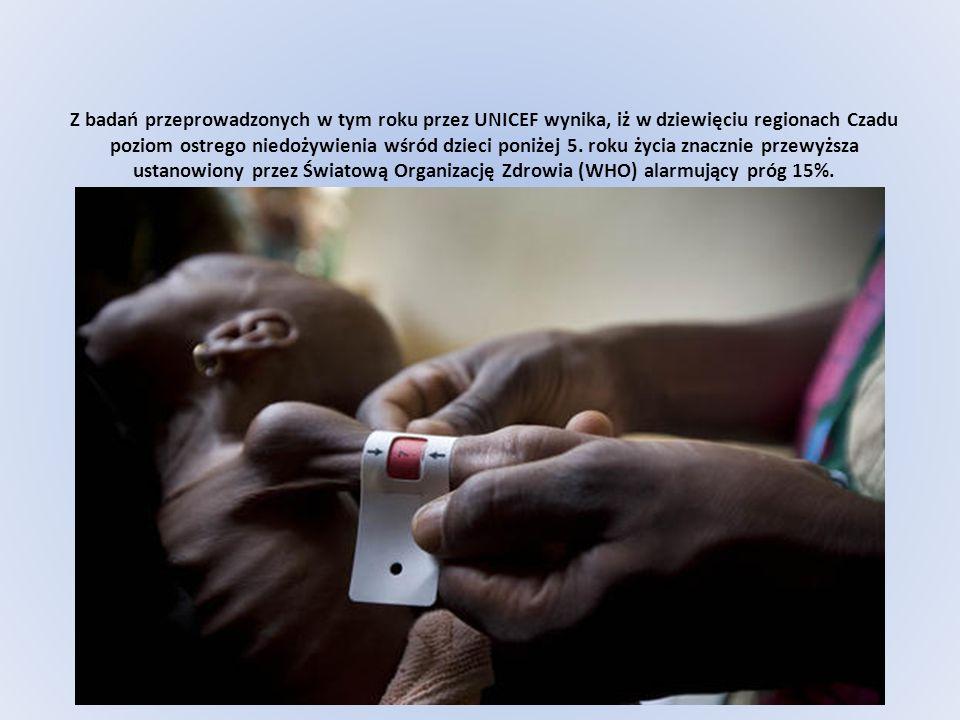 Z badań przeprowadzonych w tym roku przez UNICEF wynika, iż w dziewięciu regionach Czadu poziom ostrego niedożywienia wśród dzieci poniżej 5.