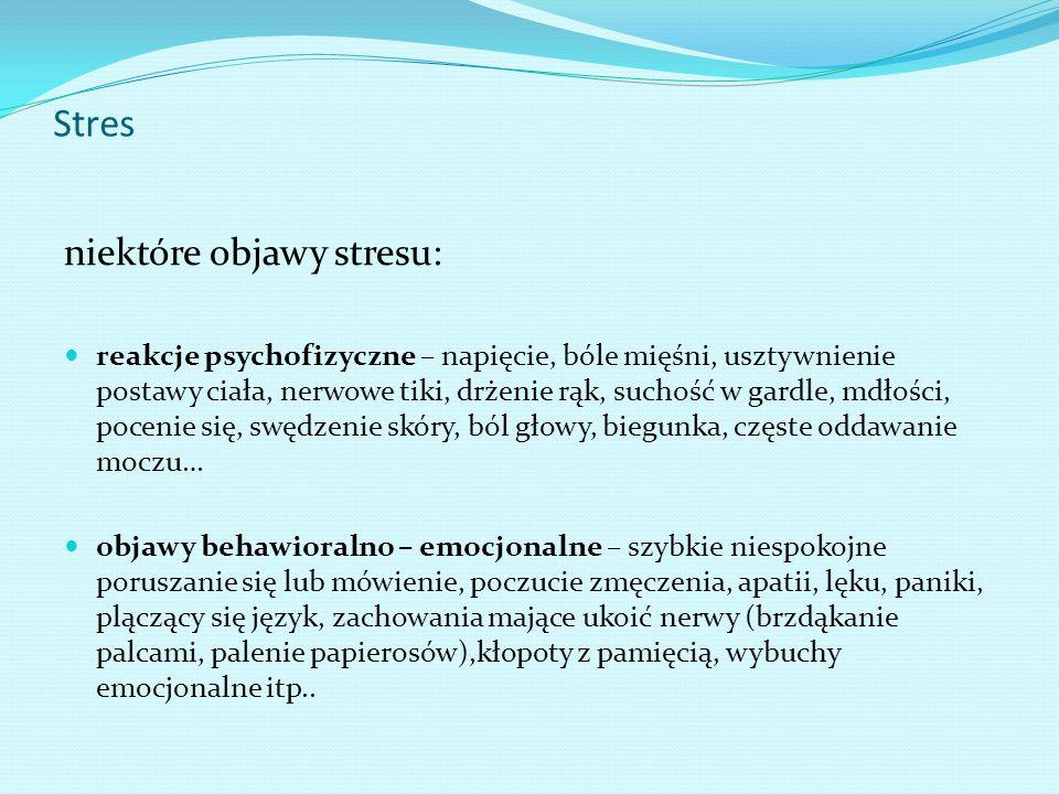 Stres niektóre objawy stresu: