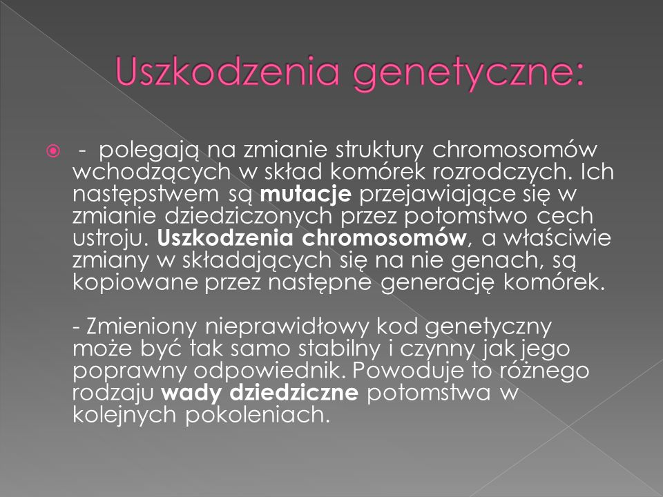 Uszkodzenia genetyczne: