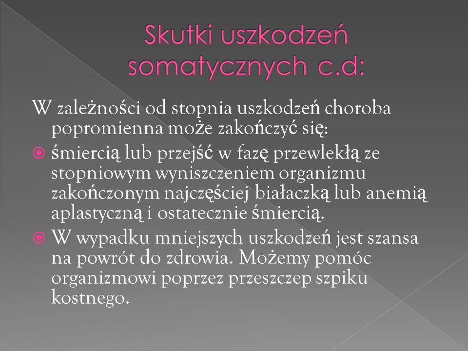 Skutki uszkodzeń somatycznych c.d: