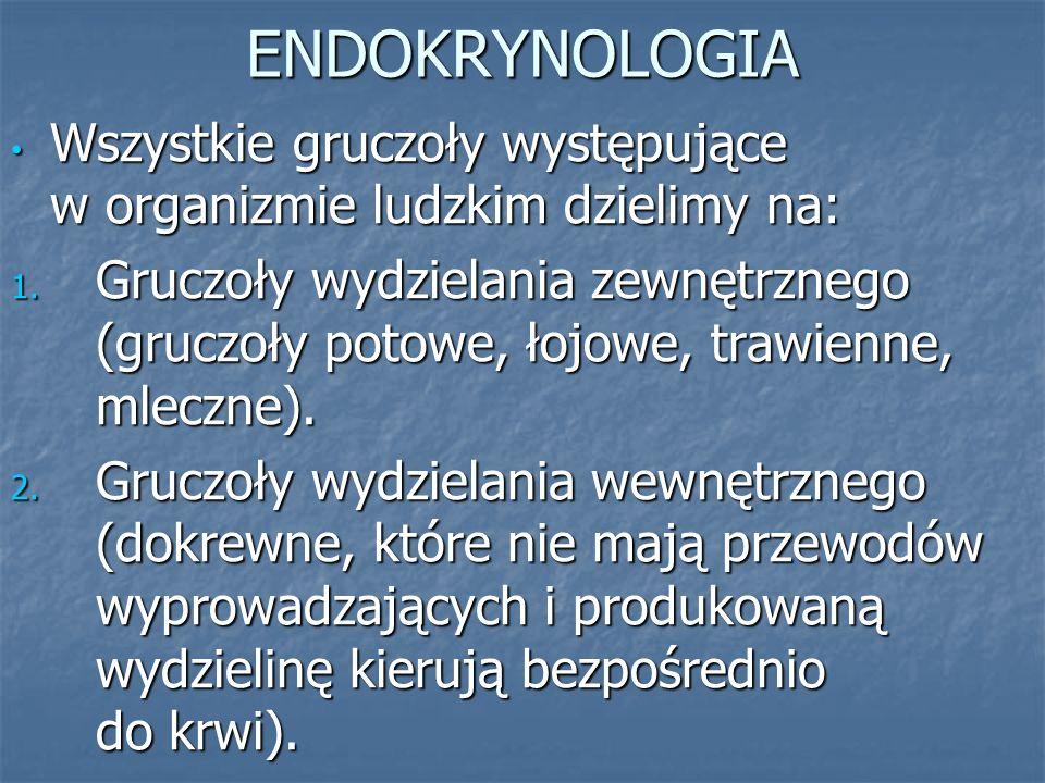 ENDOKRYNOLOGIA Wszystkie gruczoły występujące w organizmie ludzkim dzielimy na:
