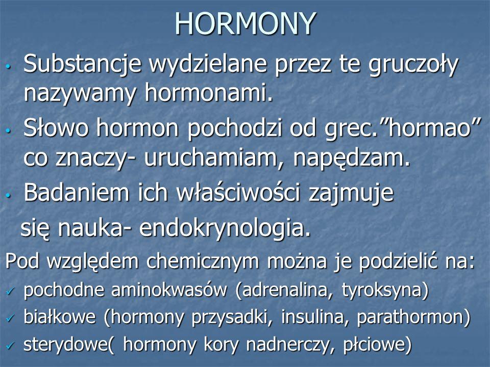 HORMONY Substancje wydzielane przez te gruczoły nazywamy hormonami.