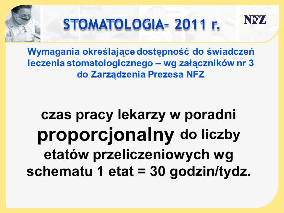 STOMATOLOGIA– 2011 r. Wymagania określające dostępność do świadczeń leczenia stomatologicznego – wg załączników nr 3 do Zarządzenia Prezesa NFZ.
