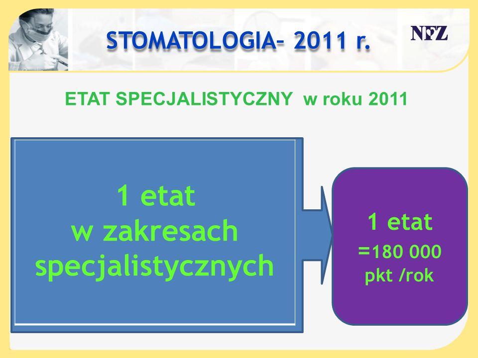 ETAT SPECJALISTYCZNY w roku 2011 w zakresach specjalistycznych