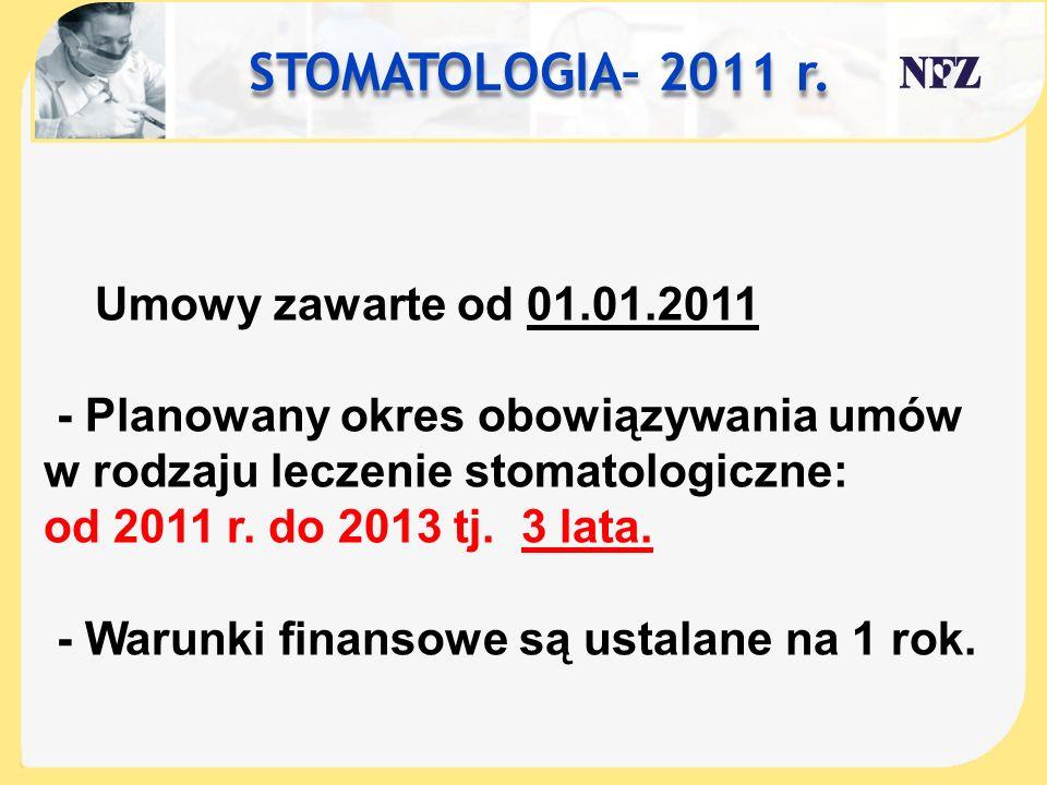 STOMATOLOGIA– 2011 r. Umowy zawarte od 01.01.2011