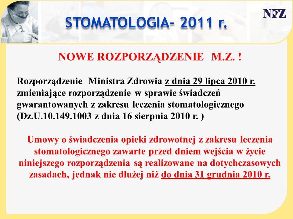 STOMATOLOGIA– 2011 r. NOWE ROZPORZĄDZENIE M.Z. !