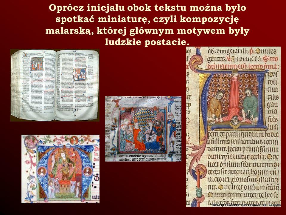 Oprócz inicjału obok tekstu można było spotkać miniaturę, czyli kompozycję malarską, której głównym motywem były ludzkie postacie.
