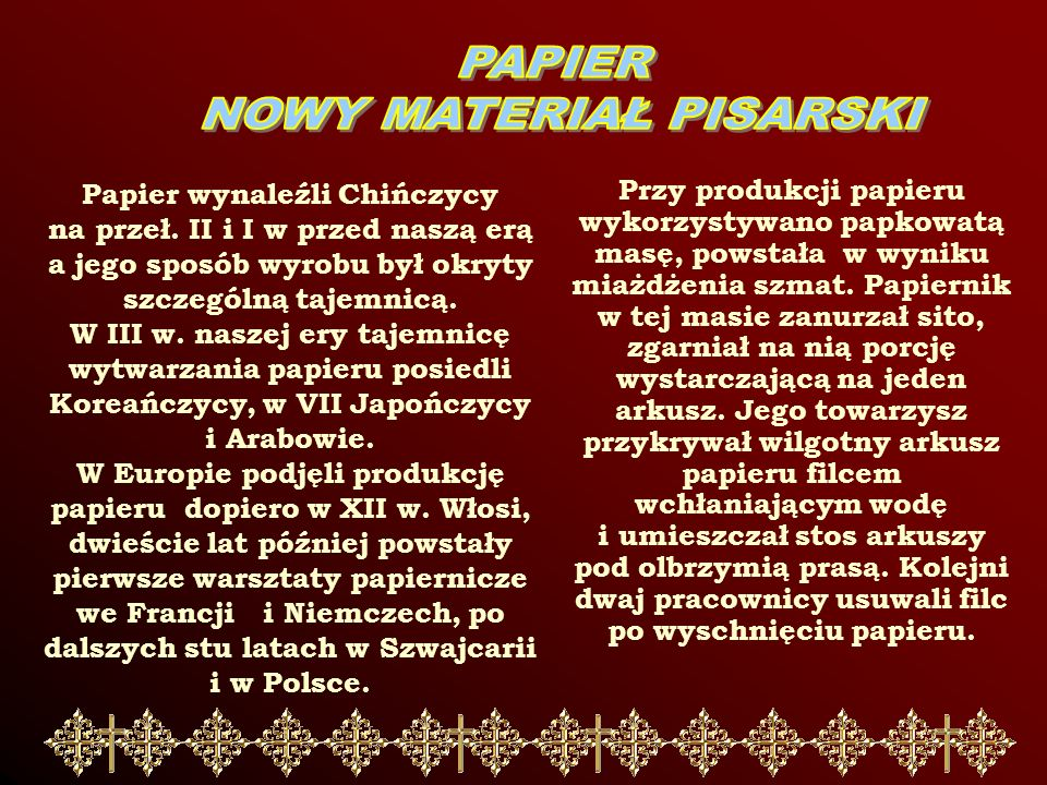 NOWY MATERIAŁ PISARSKI