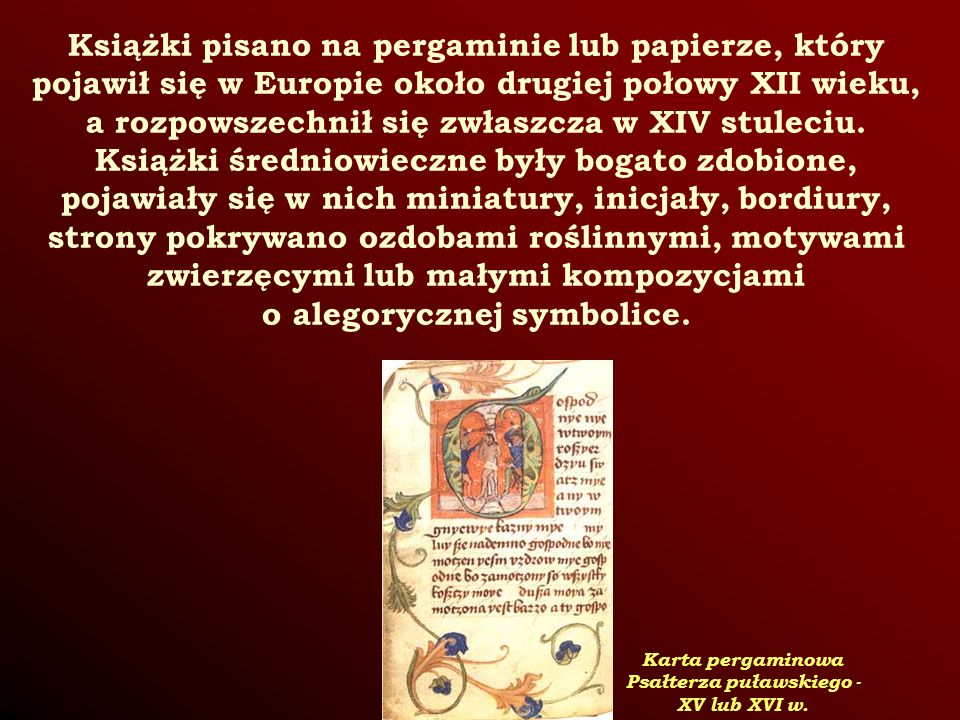 Karta pergaminowa Psałterza puławskiego - XV lub XVI w.