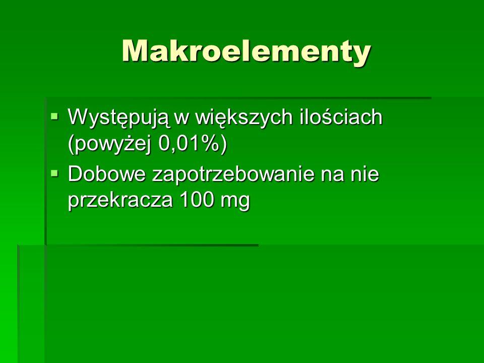 Makroelementy Występują w większych ilościach (powyżej 0,01%)